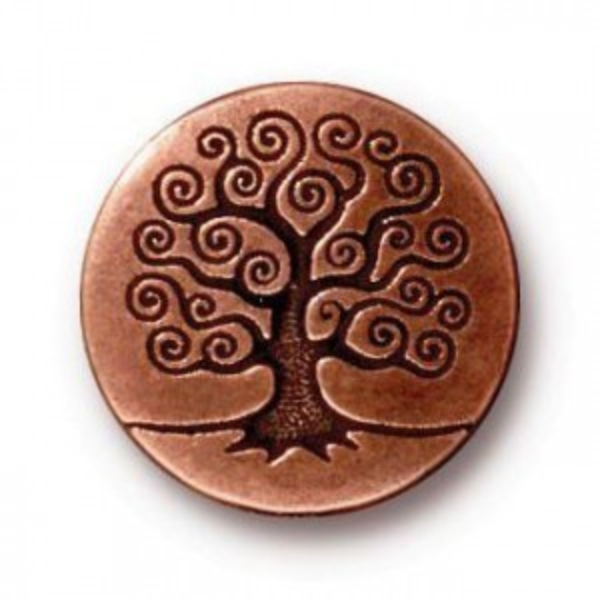 16mm Tree of Life Button Antique Copper - Pkg of 20 TierraCast® Britannia Pewter