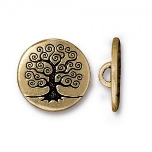 Tree of Life Button - Pkg of 20 TierraCast® Gold Plate