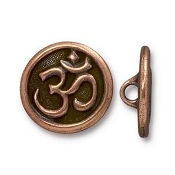 Button Om Antique Copper - Pkg of 20 TierraCast® Britannia Pewter