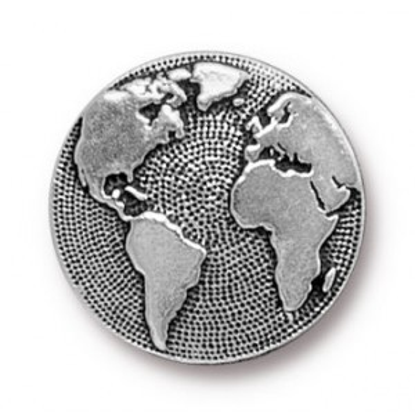 Button Earth Antique Silver - Pkg of 20 TierraCast® Britannia Pewter