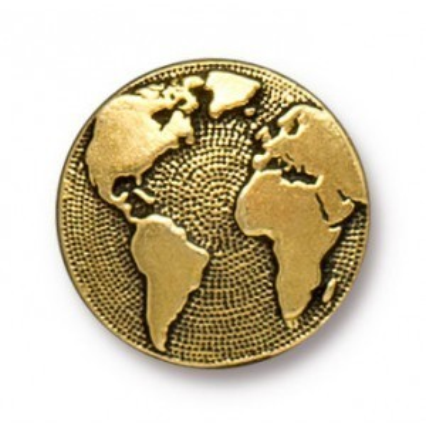 Button Earth Antique Gold - Pkg of 20 TierraCast® Britannia Pewter
