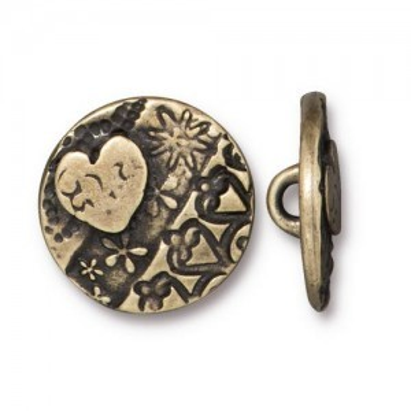 Button Amor Round 17mm Brass Oxide - Pkg of 20 TierraCast® Britannia Pewter