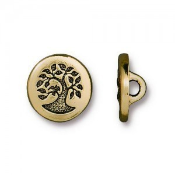 Button Small Bird in Tree 12mm Antique Gold - Pkg of 20 TierraCast® Britannia Pewter