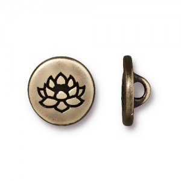 Button Small Lotus 12mm Brass Oxide - Pkg of 20 TierraCast® Britannia Pewter