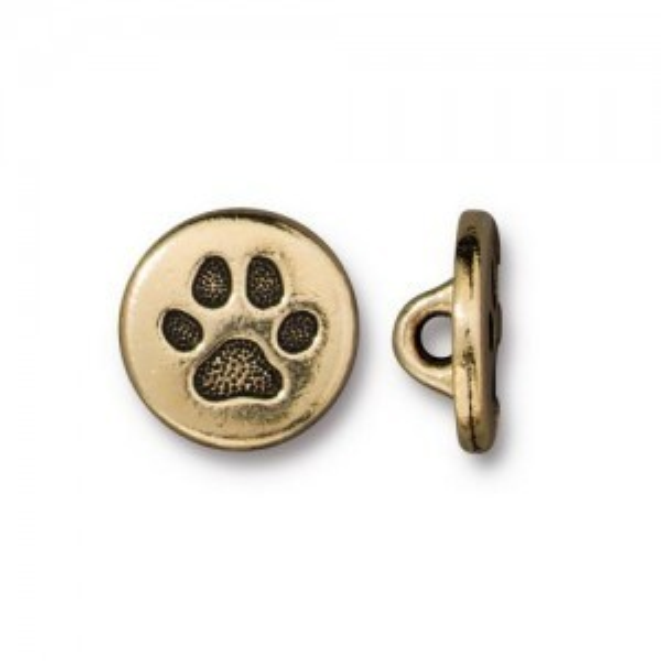 Button Small Paw 12mm Antique Gold - Pkg of 20 TierraCast® Britannia Pewter