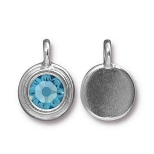 Charm Ss34 Stepped Bright Rhodium Aquamarine - Pkg of 10 TierraCast® Britannia Pewter