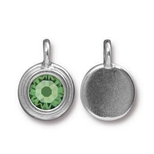 Charm Ss34 Stepped Bright Rhodium Peridot - Pkg of 10 TierraCast® Britannia Pewter