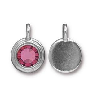 Charm Ss34 Stepped Bright Rhodium Rose - Pkg of 10 TierraCast® Britannia Pewter
