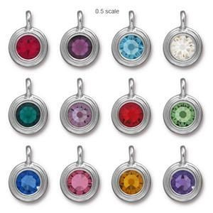 Charm Ss34 Stepped Bright Rhodium Birthstone Mix 36pc (3ea X 12 Colors) TierraCast® Britannia Pewter