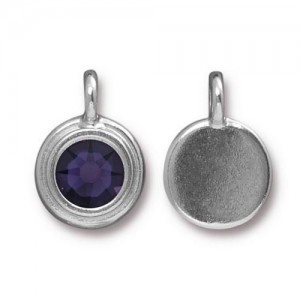 11.6mm Charm Bright Rhodium TierraCast® Pewter with Swarovski® Ss34 Purple Velvet - Pkg of 10