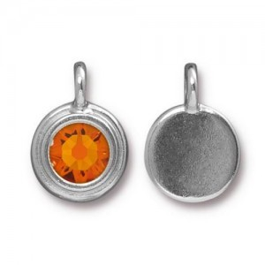 11.6mm Charm Bright Rhodium TierraCast® Pewter with Swarovski® Ss34 Tangerine - Pkg of 10