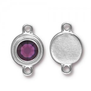 Link Ss34 Stepped Bezel with Amethyst - Pkg of 10 TierraCast® Bright Rhodium