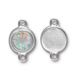 Link Ss34 Stepped Bezel with Crystal AB - Pkg of 10 TierraCast® Bright Rhodium