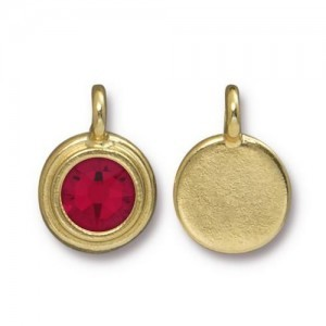 Charm Ss34 Stepped Bezel with Siam - Pkg of 10 TierraCast® Bright Gold