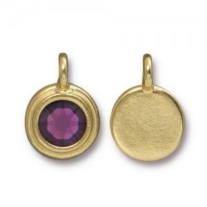 Charm Ss34 Stepped Bezel with Amethyst - Pkg of 10 TierraCast® Bright Gold