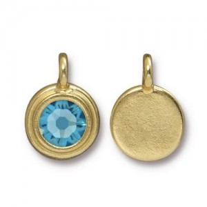 Charm Ss34 Stepped Bezel with Aquamarine - Pkg of 10 TierraCast® Bright Gold