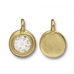 Charm Ss34 Stepped Bezel with Crystal - Pkg of 10 TierraCast® Bright Gold