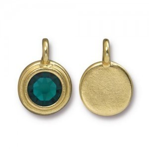 Charm Ss34 Stepped Bezel with Emerald - Pkg of 10 TierraCast® Bright Gold