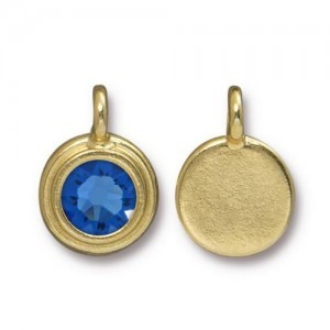 Charm Ss34 Stepped Bezel with Sapphire - Pkg of 10 TierraCast® Bright Gold