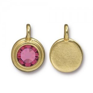 Charm Ss34 Stepped Bezel with Rose - Pkg of 10 TierraCast® Bright Gold