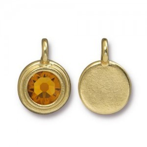 Charm Ss34 Stepped Bezel with Topaz - Pkg of 10 TierraCast® Bright Gold
