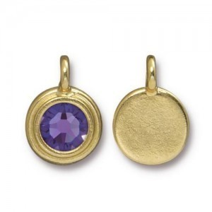 Charm Ss34 Stepped Bezel with Tanzanite - Pkg of 10 TierraCast® Bright Gold