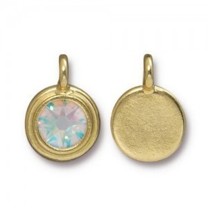 Charm Ss34 Stepped Bezel with Crystal AB - Pkg of 10 TierraCast® Bright Gold