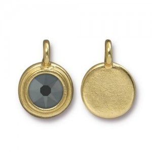 Charm Ss34 Stepped Bezel with Jet Hematite - Pkg of 10 TierraCast® Bright Gold