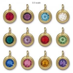 Charm Ss34 Stepped Bezel Birthstone Mix 3 Pcs Ea Color - 36 Pcs Total TierraCast® Bright Gold