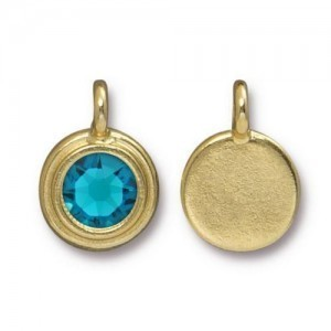 11.6mm Charm Bright Gold TierraCast® Pewter with Swarovski® Ss34 Blue Zircon - Pkg of 10