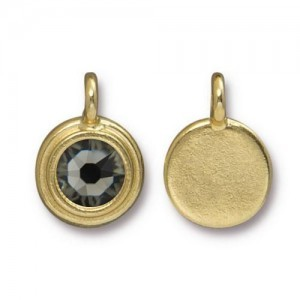 11.6mm Charm Bright Gold TierraCast® Pewter with Swarovski® Ss34 Black Diamond - Pkg of 10