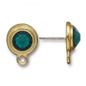 Post Ss34 with Emerald - Pkg of 6 TierraCast® Bright Gold