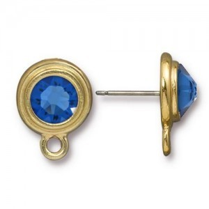 Post Ss34 with Sapphire - Pkg of 6 TierraCast® Bright Gold