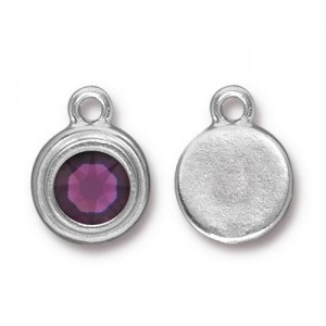Drop Ss34 Stepped Bezel with Amethyst - Pkg of 10 TierraCast® Bright Rhodium