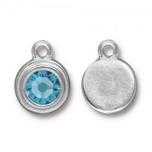 Drop Ss34 Stepped Bezel with Aquamarine - Pkg of 10 TierraCast® Bright Rhodium