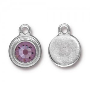 Drop Ss34 Stepped Bezel with Lt Amethyst - Pkg of 10 TierraCast® Bright Rhodium