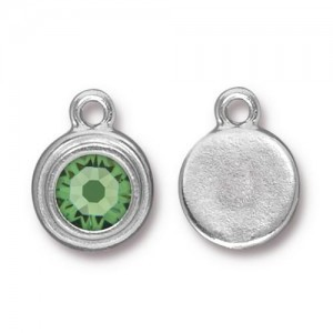 Drop Ss34 Stepped Bezel with Peridot - Pkg of 10 TierraCast® Bright Rhodium