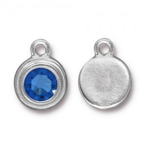 Drop Ss34 Stepped Bezel with Sapphire - Pkg of 10 TierraCast® Bright Rhodium