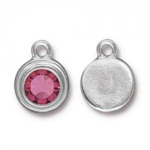 Drop Ss34 Stepped Bezel with Rose - Pkg of 10 TierraCast® Bright Rhodium