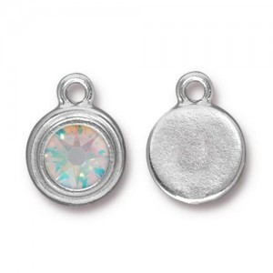 Drop Ss34 Stepped Bezel with Crystal AB - Pkg of 10 TierraCast® Bright Rhodium