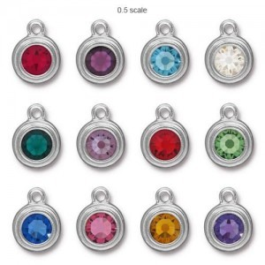 Drop Ss34 Stepped Bezel Birthstone Mix 3 Pcs Ea Color - 36 Pcs Total TierraCast® Bright Rhodium