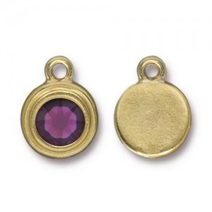 Drop Ss34 Stepped Bezel with Amethyst - Pkg of 10 TierraCast® Bright Gold
