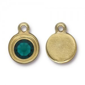 Drop Ss34 Stepped Bezel with Emerald - Pkg of 10 TierraCast® Bright Gold