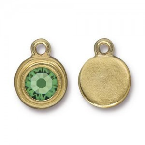 Drop Ss34 Stepped Bezel with Peridot - Pkg of 10 TierraCast® Bright Gold