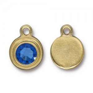 Drop Ss34 Stepped Bezel with Sapphire - Pkg of 10 TierraCast® Bright Gold