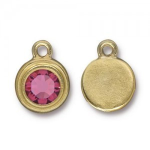 Drop Ss34 Stepped Bezel with Rose - Pkg of 10 TierraCast® Bright Gold