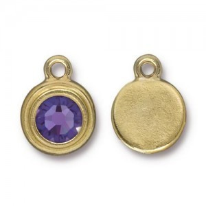 Drop Ss34 Stepped Bezel with Tanzanite - Pkg of 10 TierraCast® Bright Gold