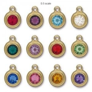 Drop Ss34 Stepped Bezel Birthstone Mix 3 Pcs Ea Color - 36 Pcs Total TierraCast® Bright Gold