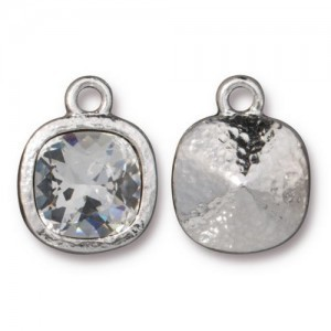 Cushion Frame 13mm With Clear 10mm Crystal Rhodium Finish - Pkg of 6 TierraCast® Britannia Pewter