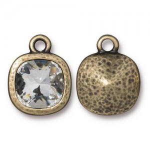 Cushion Frame 13mm With Clear 10mm Crystal Brass Oxide - Pkg of 6 TierraCast® Britannia Pewter